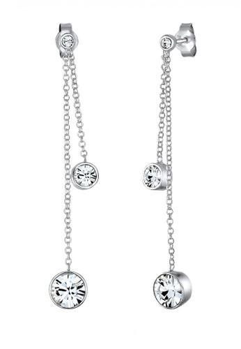 Elli Germany silver Perhiasan Wanita Perak Asli - Silver Anting Chain Drop Crystal EL948AC93NPEID_1