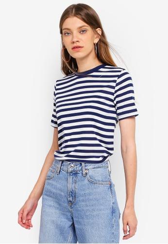 TOPSHOP navy Premium Striped T-Shirt BFFCDAA32044C3GS_1