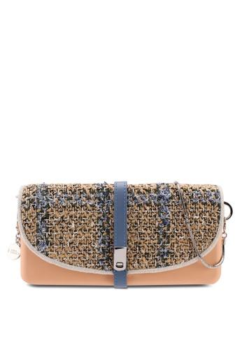 Hoola Hoola orange Camilla Clutch - Nude Coral Blue Tweed with Snake Chain F3AB9ACDCDF3CDGS_1