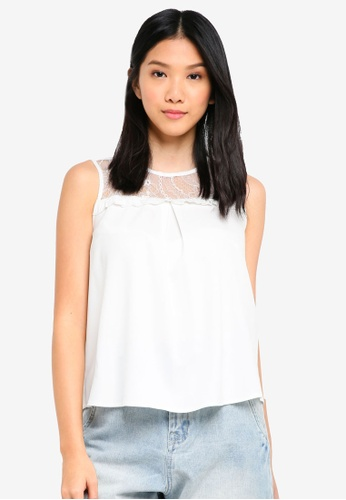 ZALORA BASICS white Lace Yoke Top 3909AAA9887D34GS_1
