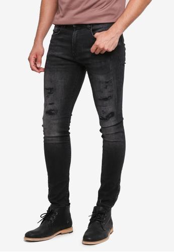 Burton Menswear London black Washed Black Super Skinny R&R Jeans 7F4CBAACD82874GS_1