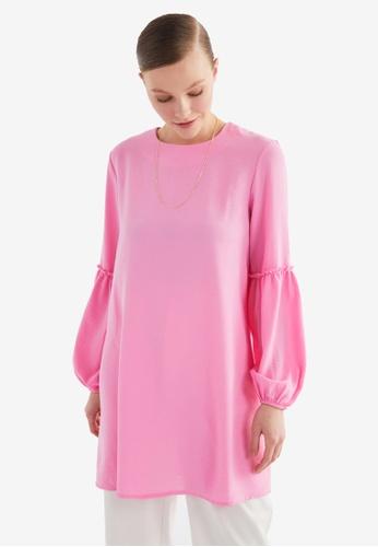 Trendyol 粉紅色 拼接Sleeves Tunic上衣 8A41EAA027CFF4GS_1