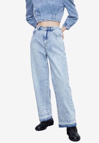 Urban Revivo blue Distressed Jeans 92A78AAEB6C30DGS_1