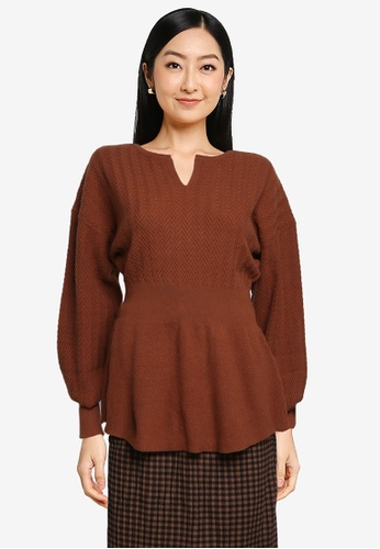 LOWRYS FARM brown Tunic Knit Pullover FB2A5AA1D161EDGS_1
