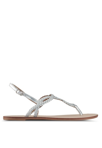 ONLY silver Margit Braided Sandals 43DFASH58AECFEGS_1