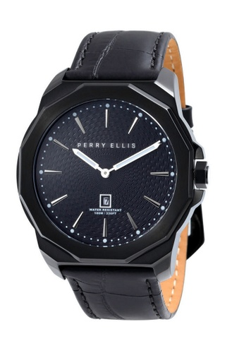 PERRY ELLIS black Perry Ellis Decagon Men 46mm Quartz Watch 05006-01 61486AC005DF71GS_1
