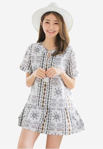 Sesura white Ethnic Escapade Dropwaist Dress 993FAAAAE7B6CFGS_1