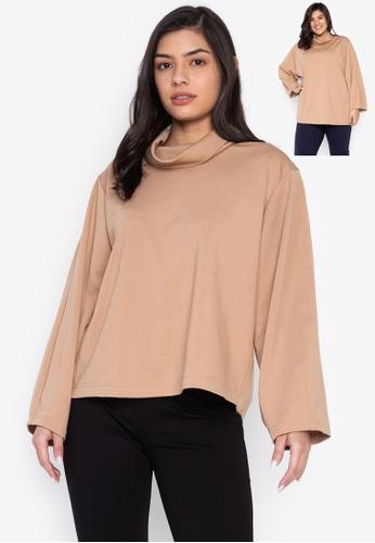 Wear Kris brown Karlie Wide High Neck Collar Cocoon Sleeves 6A06DAAD261F54GS_1