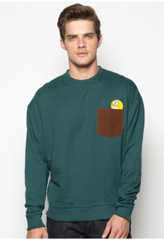 Pullover with 9 Ball Embro on Suede Pocket