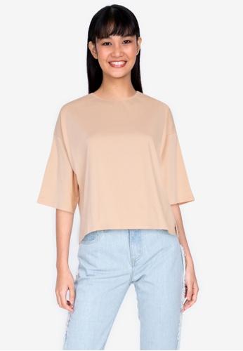 ZALORA BASICS brown Side Split T-shirt 76C04AA85E1790GS_1