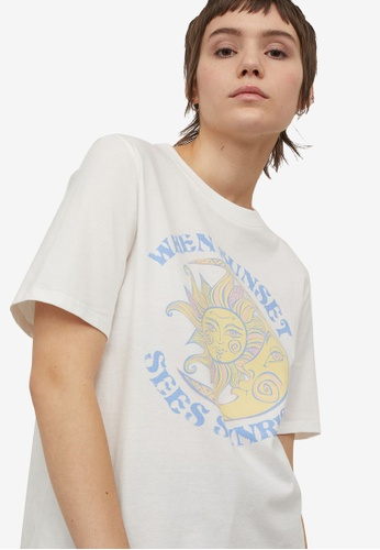 H&M white and multi Printed T-Shirt 2C3E5AA12ABC15GS_1