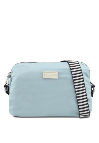 Bagstationz blue Crinkled Nylon Dual Zip Sling Bag With Zebra Strap FA672ACB91CFADGS_1