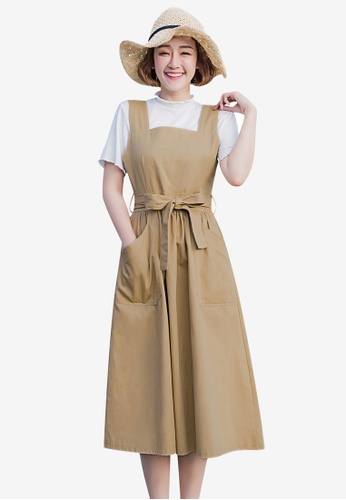 Tokichoi beige Pinafore Dress DAE76AA9DC0DE7GS_1