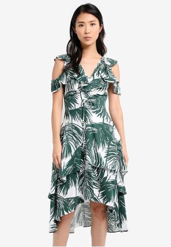 ZALORA green Flutter Shoulder Layered Dress F52B3AA3F3762AGS_1