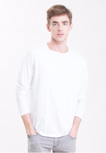 Drum 2 Button Long Sleeve Tee-WHT DR425AA0RYX1MY_1