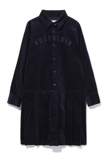 b+ab navy Nostalgia pleated shirt dress CA7F7AAFEB8C5BGS_1