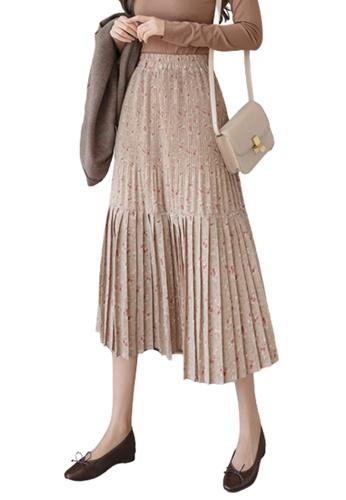 Halo beige Printed Pleated Skirt DB4C1AAC73F96FGS_1
