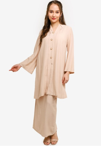 Lubna brown and beige Full Length Kebaya With Buttons F6548AA24465D5GS_1