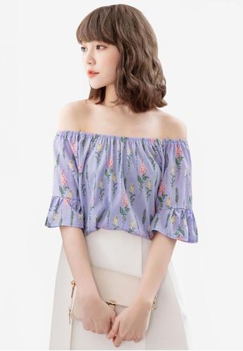 Eyescream purple Floral Off Shoulder Top EC429AAF50C040GS_1