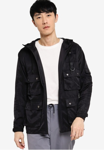 ZALORA BASICS black Tech Utility Hooded Jacket 5119DAA39BCD38GS_1
