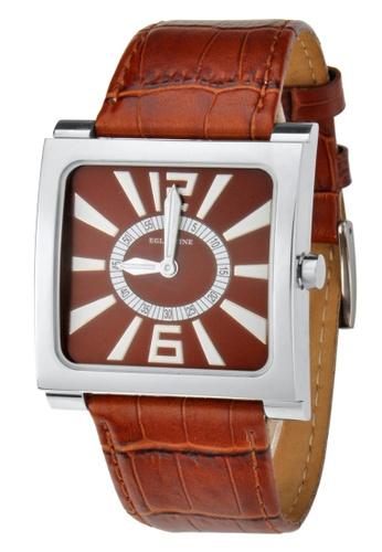 EGLANTINE silver EGLANTINE® Paris Square Unisex Steel Quartz Watch Brown Dial and Leather Strap 16B9FAC889F819GS_1