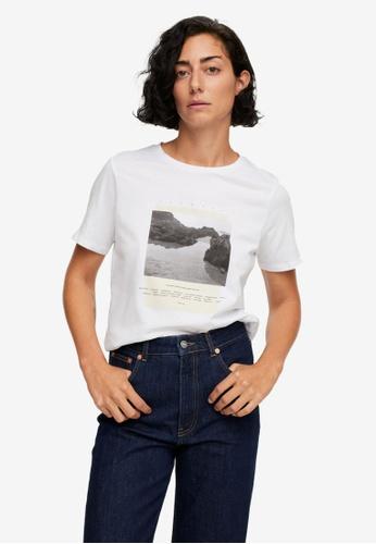 Mango 白色 Printed Cotton-Blend T-Shirt D5827AA2C66952GS_1