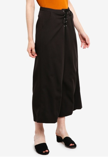 Something Borrowed black Laced Up Culottes BFC80AA499468FGS_1