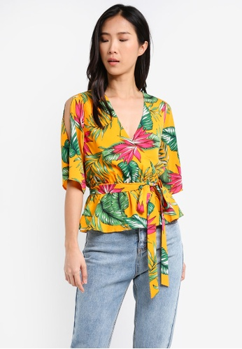 ZALORA yellow Wrapped Top with Waist Tie Detail 46B8AAA9F56B33GS_1