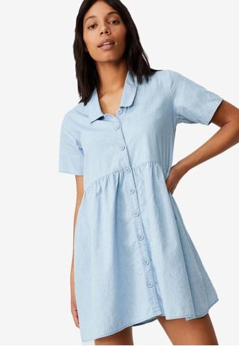 Cotton On blue Woven Ruby Smock Mini Dress 165D0AA70F2180GS_1