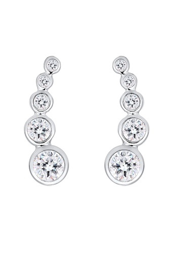 ELLI GERMANY silver Earrings Circle Crystal Ear Cuff EL474AC0S1ZXMY_1