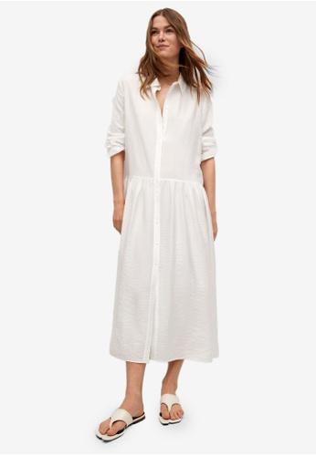 Mango white Ruffled Shirt Dress D6468AA5682258GS_1