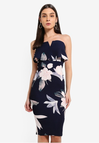AX Paris navy Navy Floral Print Front Notch Bodycon Dress F644CAA8CD056BGS_1