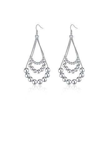 Glamorousky silver Fashion Three Tiered Beaded Earrings D0C56ACBCE76E6GS_1