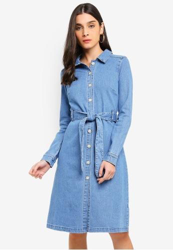 Vero Moda blue Julia Belt Denim Dress 97BCFAA44E1EC5GS_1