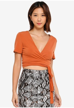 583557495692b5 Supre brown Luxe Set Short Sleeve Tie Front Top 5DEE5AAB52E8F1GS_1