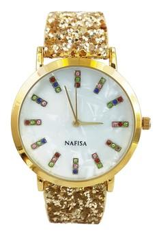 Nafisa Women's Round Seashell/Rhinestone Dial Leather Strap Watch