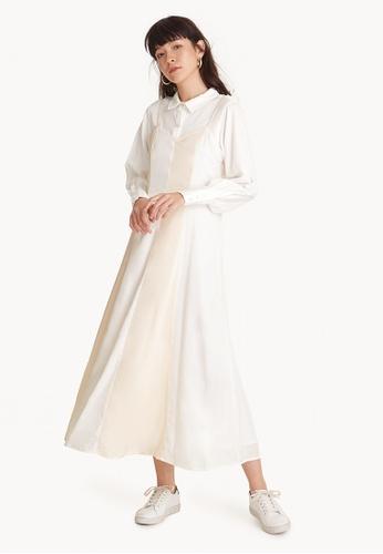 Pomelo white Premium Tencel Maxi Two Tone Flounce Dress A95B8AA59D2470GS_1