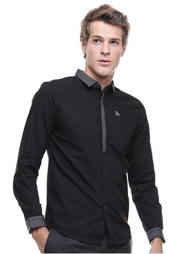 Johnwin black LGS - Slim Fit - Kemeja Casual Active - Lengan Panjang - Hitam 74237AAB2853C5GS_1