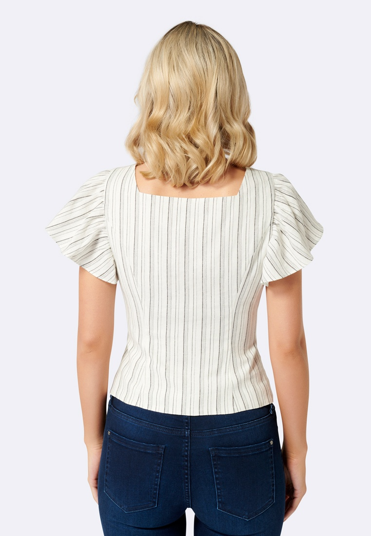 Linen New Forever Blouse Ruffle Stripe Cindy qtwFvcaP