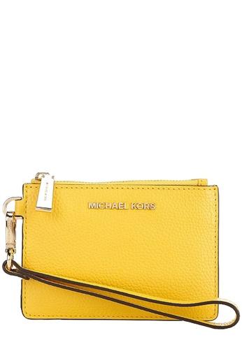 MICHAEL KORS yellow Michael Kors Mercer Leather Coin Purse in Sunflower DA4F6AC1381873GS_1