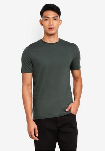 Topman green Short Sleeve Green Slim Fit Crew Tee 248D5AAA7359B2GS_1