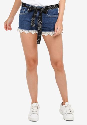 Superdry blue Crochet Denim Shorts 0B221AAF367621GS_1