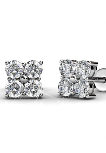 Her Jewellery silver Her Jewellery Sweet Square Earrings with Premium Grade Crystals from Austria 39AA6AC9BC7955GS_1