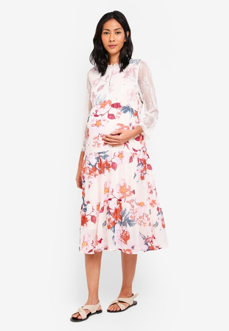 Maternity Tone Dress Red Veronica licious Midi 3 4 Mama Buttercream Woven Rwfvq5