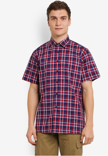 BGM POLO red and blue and multi Men's Short Sleeve Checkered Shirt BG646AA0S0KKMY_1