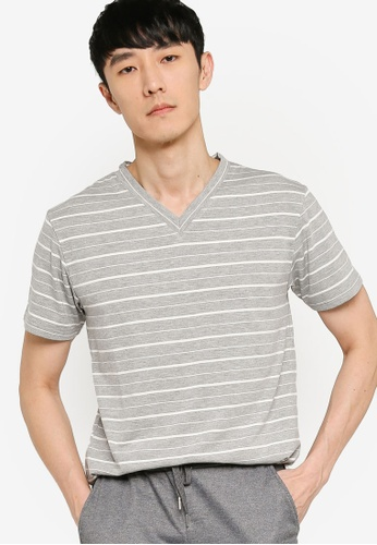 ZALORA BASICS grey and multi Striped V-Neck T-shirt 59F23AADD68854GS_1