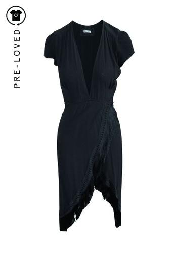 Reformation black Pre-Loved reformation Midi Wrap Black Dress with Fringes 09D9CAA544DA62GS_1