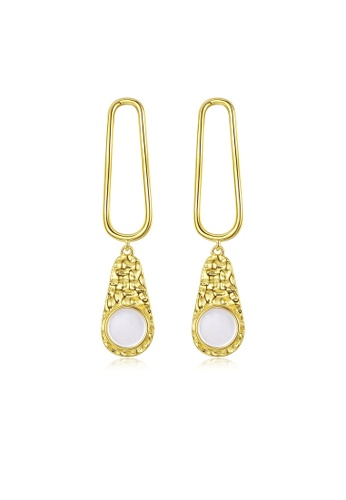 SUNRAIS gold High quality Silver S925 gold simple design earrings 82BADAC93CEF56GS_1