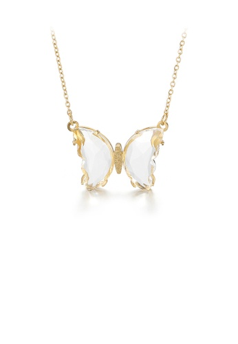 Glamorousky white Fashion Simple Plated Gold Butterfly 316L Stainless Steel Necklace with White Cubic Zirconia 6D00CACC63956FGS_1
