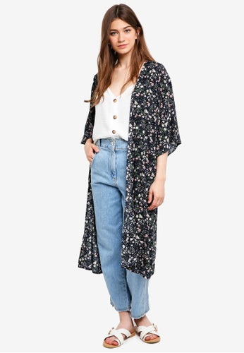 Something Borrowed navy Printed Kimono Cardigan 6B7C7AAADF87C5GS_1